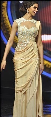 Deepika in Sari Gown