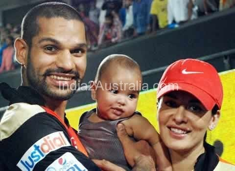 Dhawan with wife and sons