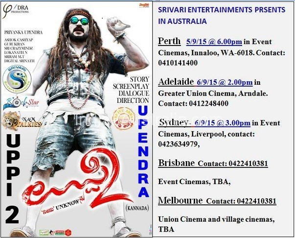 Kannada Movie Uppi 2 screening details for Melbourne, Perth, Adelaide and Sydney