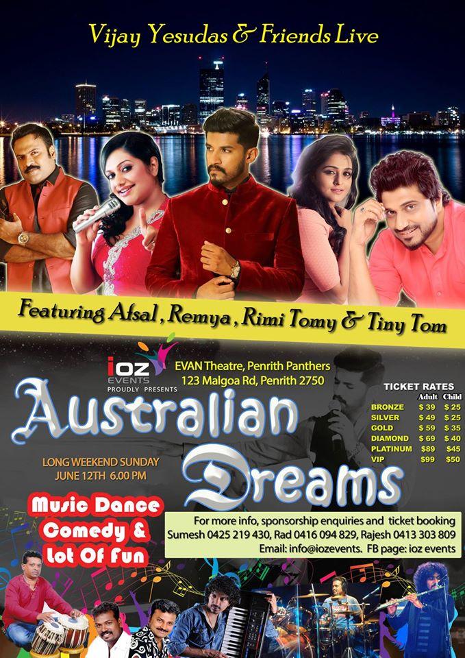 Vijay Yesudas and Rimi Tomi live in Sydney