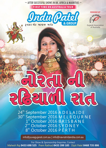 Indu Patel's Norta Ni Radhiyali Raat in Melbourne, Sydney, Perth, Adelaide and Brisbane