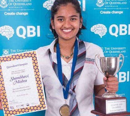 Shambhavi Mishra  crowned the 2016 Queensland Brain Bee champion