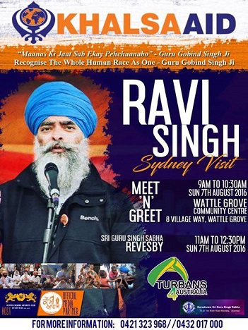 Ravi Singh meet and greet in Sydney