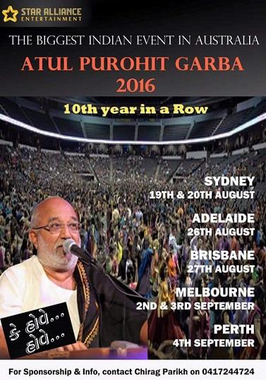 Atul Purohit's Navratri Garba Programs in Australia ( Melbourne, Sydney, Perth, Adelaide)