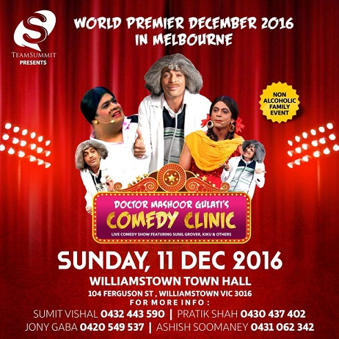 Sunil Grover's Doctor Mashoor Gulati's Comedy Clinic in Melbourne and Sydney