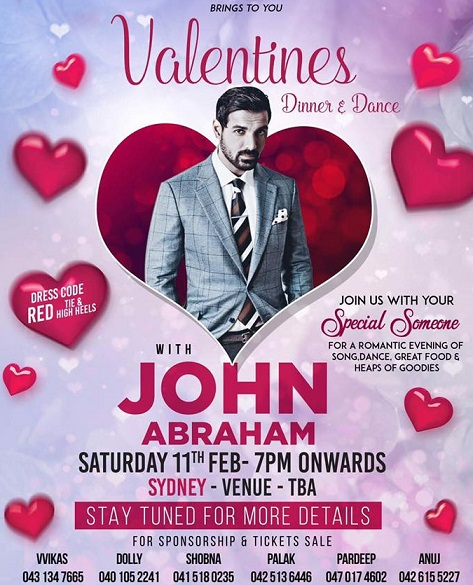 John Abraham Dine and Dance in Melbourne and Sydney 2017