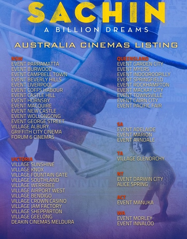 Sachin: A Billion Dreams Movie Screening details for Australia (Melbourne, Sydney, Perth, Adelaide, Brisbane and Darwin)