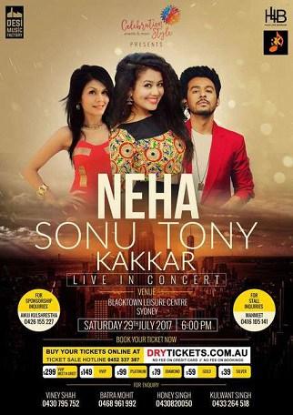Neha Sonu Tony Kakkar Concert in Melbourne and Sydney 2017