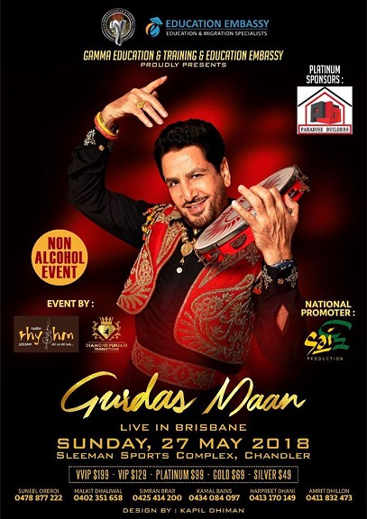Gurdas Maan Live Concert 2018 in Melbourne, Perth, Sydney and Brisbane