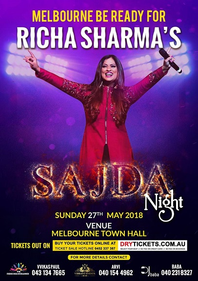 Richa Sharma Concert in Melbourne and Sydney