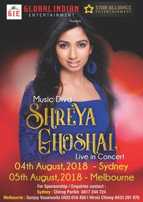 Shreya Ghoshal Concert in Melbourne and Sydney 2018