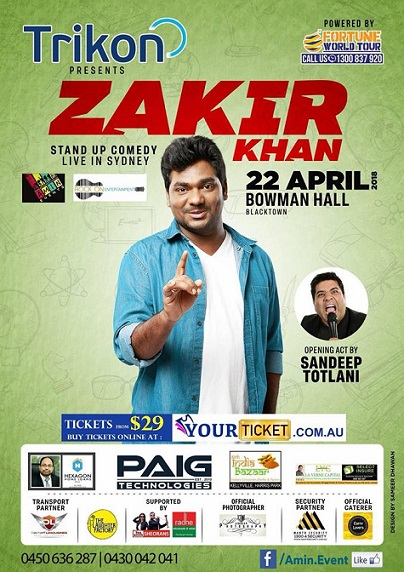 Zakir Khan Stand-up Comedy in Melbourne, Sydney and Brisbane