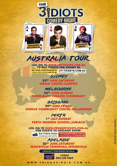 The 3 Idiots Comedy Night in Sydney, Melbourne, Perth, Brisbane and Adelaide