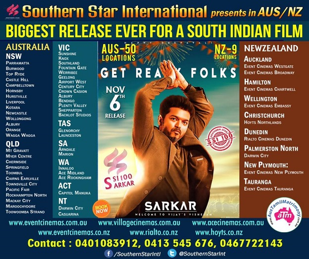Sarkar Movie Screening details for Australia (Melbourne, Sydney, Perth, Adelaide, Brisbane and Perth)