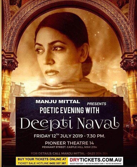 Deepti Naval poetic evening in Sydney on 12th July 2019 at Pioneer Theatre