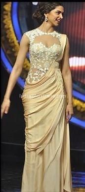 Deepika in Sari Gown