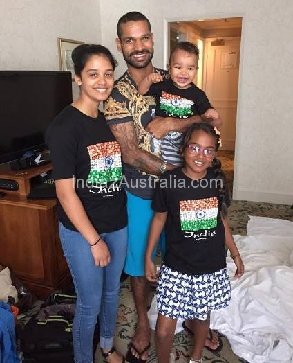 Shikhar Dawan with family in melbourne