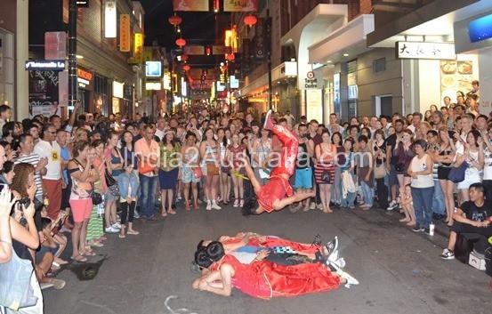 Street performer whitenight chinatown