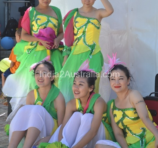 Chinese dancers outside