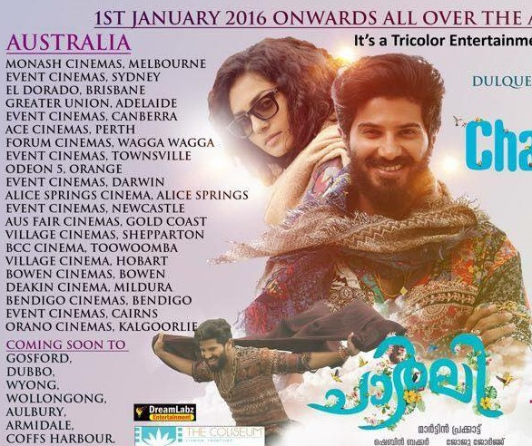 Charlie Malayalam movie screening details for Australia (Melbourne, Sydney, Perth, Adelaide and Brisbane)