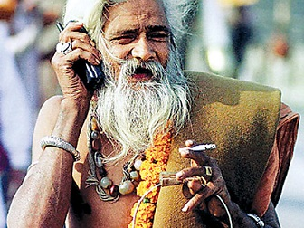 Indian using telephone