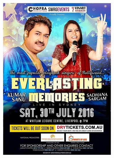 KUMAR SANU & SADHANA SARGAM LIVE IN SYDNEY AND MELBOURNE