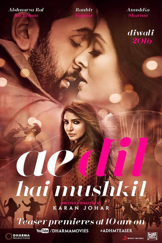 Ae Dil Hai Mushkil – Hindi Movie Screening Details for Australia (Melbourne, Sydney, Perth, Adelaide and Brisbane)