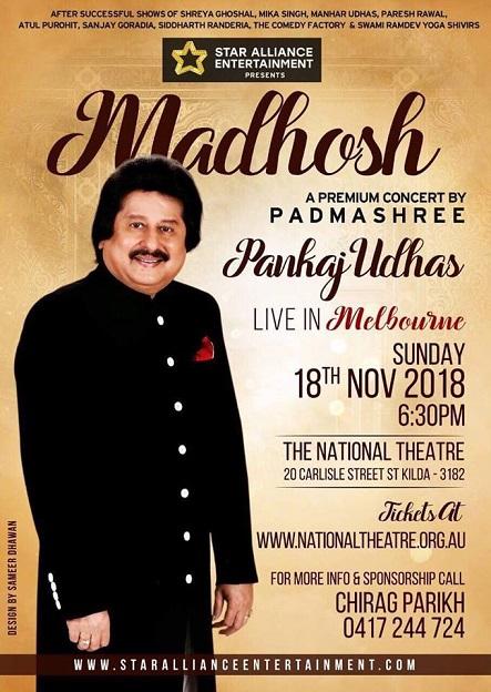 Pankaj Udhas Live Concert in Melbourne, Brisbane, Adelaide and Sydney