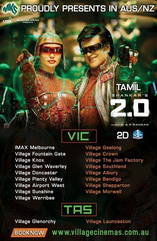 Tamil Movie 2.0 Screening details for Australia (Melbourne, Sydney, Perth, Adelaide, Brisbane and Canberra)